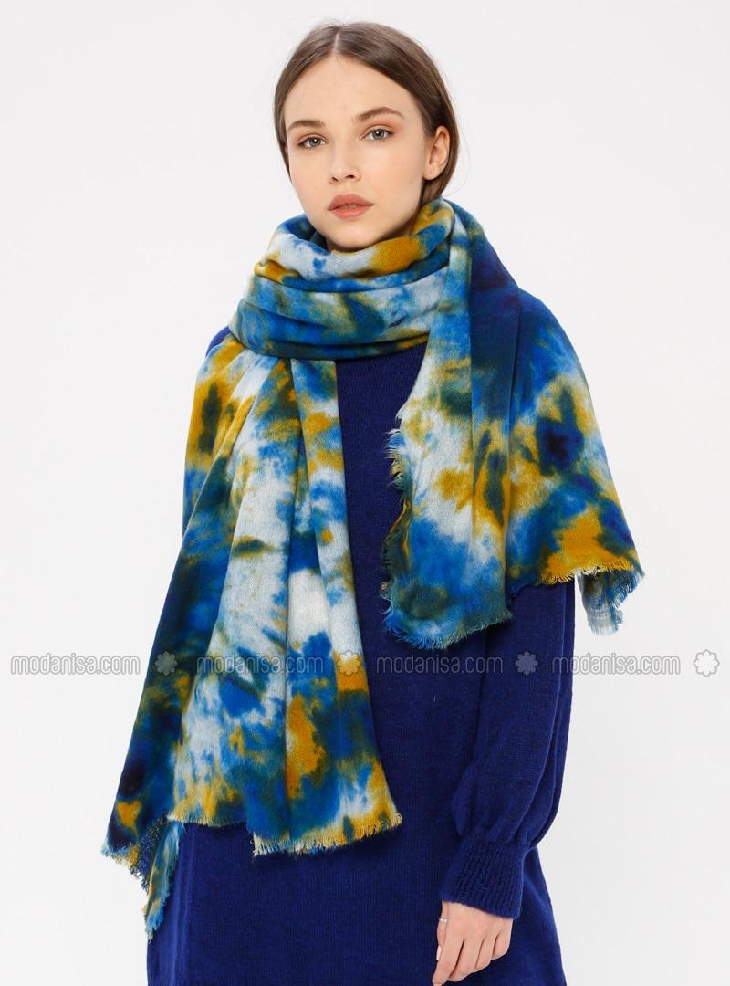 Navy Blue - Printed - Shawl Wrap
