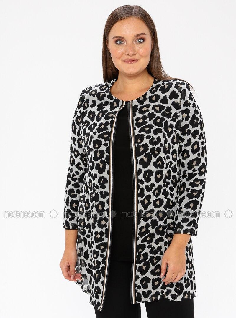 Black - Leopard - Crew neck - Unlined - Plus Size Evening Suit
