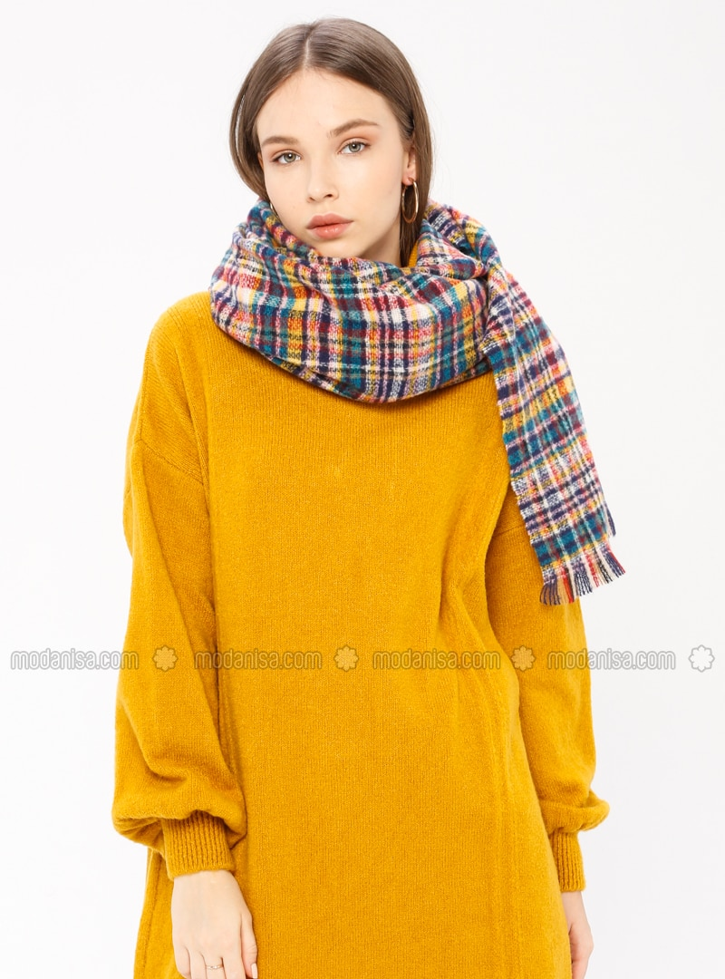 Turquoise - Striped - Shawl Wrap