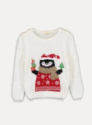 Printed - Crew neck - Ecru - Girls` Pullovers - LC WAIKIKI