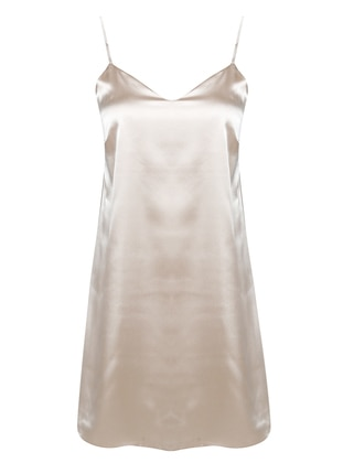 Beige - V neck Collar - Nightdress