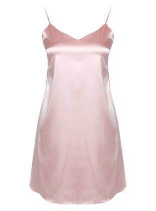 Salmon - V neck Collar - Nightdress
