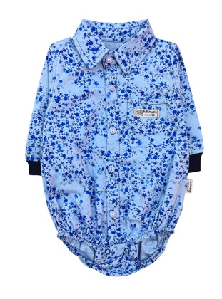 Multi - Blue - Point Collar -  - baby shirts