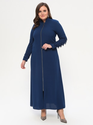 Indigo - Crew neck - Unlined - Plus Size Abaya