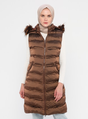 Brown - Fully Lined - Crew neck - Vest