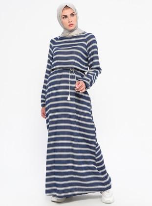 Navy Blue - Stripe - Crew neck - Unlined -  - Dress