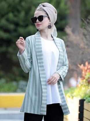 Green Almond - Stripe - Unlined - Shawl Collar - Linen - Jacket