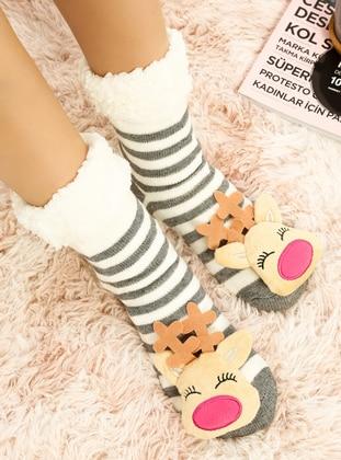 White - Gray - Socks