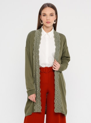 Khaki - Acrylic -  - Cardigan - Zentoni