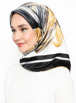 Gold - Black - Printed - Rayon - Scarf