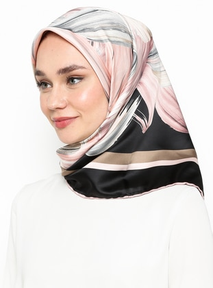 Dusty Rose - Black - Printed - Rayon - Scarf