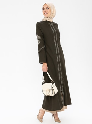 Khaki - Ethnic - Unlined - Crew neck - Abaya