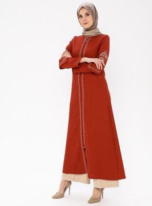 Terra Cotta - Ethnic - Unlined - Crew neck - Abaya