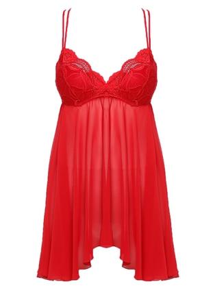 Red - V neck Collar -  - Nightdress