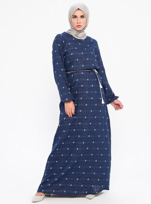 Navy Blue - Crew neck - Unlined -  - Dress