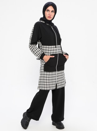Black - Checkered - Tracksuit Set