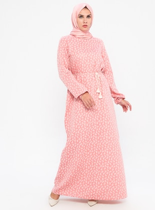 Pink - Multi - Crew neck - Unlined -  - Dress