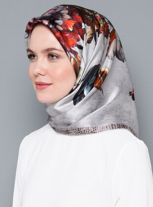 White - Floral - Digital Printing - %100 Silk - Scarf - Armine Eşarp