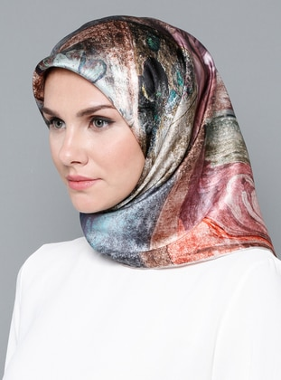 Multi - Printed - Digital Printing - %100 Silk - Scarf - Armine Eşarp