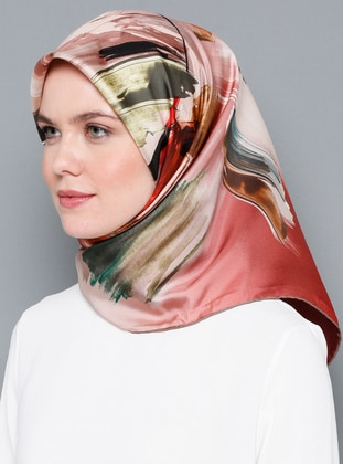 Multi - Floral - Digital Printing - %100 Silk - Scarf