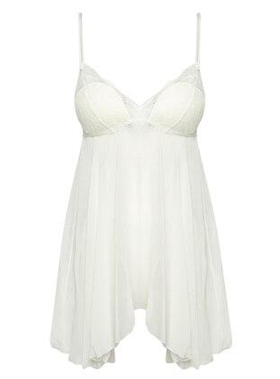 White - Ecru - V neck Collar - Nightdress