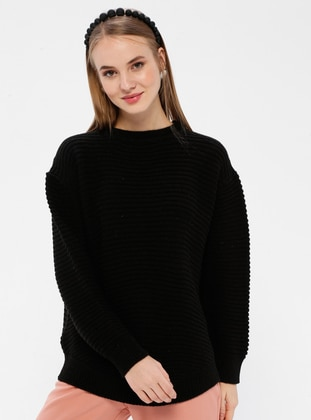 Black - Crew neck - Acrylic -  - Jumper - Zentoni