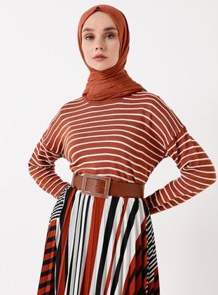 Tan - Stripe - Crew neck - Acrylic -  - Jumper