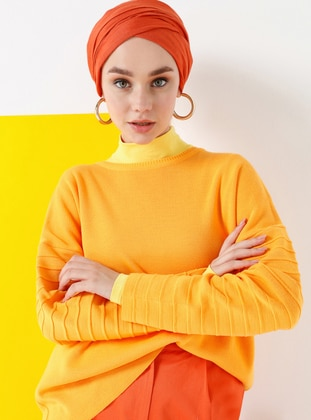 Orange - Crew neck - Acrylic -  - Jumper