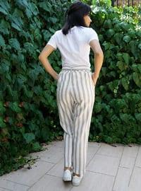 Ecru - Stripe -  - Pants