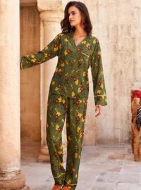 Green - Shawl Collar - Floral - Viscose - Pyjama