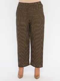 Khaki - Stripe - Crew neck - Unlined - Plus Size Suit