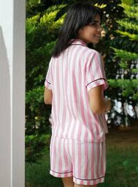 Pink - Shawl Collar - Stripe - Viscose - Pyjama