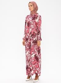 Fuşya - Yuvarlak yakalı - Astarsız kumaş - Elbise