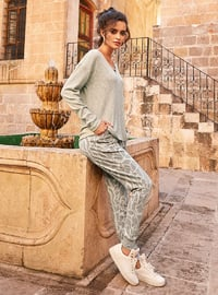 Gray - V neck Collar - Multi - Viscose - Pyjama