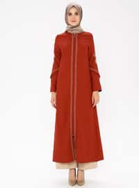 Terra Cotta - Ethnic - Unlined - Crew neck - Abaya
