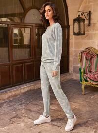 Gray - Crew neck - Multi -  - Viscose - Pyjama