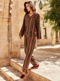 Multi - Shawl Collar - Multi - Viscose - Pyjama