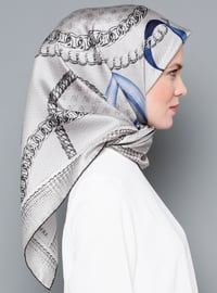White - Printed - Digital Printing - %100 Silk - Scarf