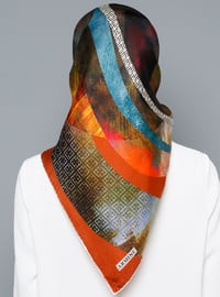 Multi - Printed - Digital Printing - %100 Silk - Scarf