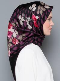 Purple - Black - Printed - Digital Printing - %100 Silk - Scarf