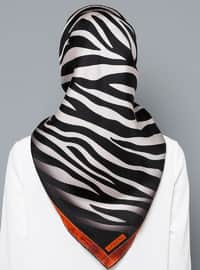 White - Black - Printed - Digital Printing - %100 Silk - Scarf