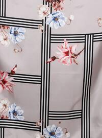 Mink - Floral - Digital Printing - %100 Silk - Scarf