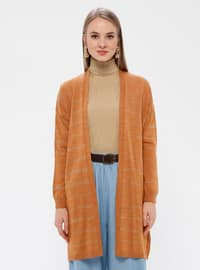 Tan - Stripe - Acrylic -  - Cardigan
