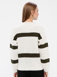 Khaki - Stripe - Crew neck - Acrylic -  - Jumper
