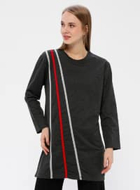 Anthracite - Stripe - Crew neck - Acrylic -  - Tunic