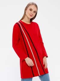 Red - Stripe - Crew neck - Acrylic -  - Tunic
