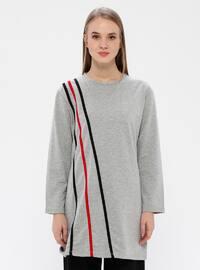 Gray - Stripe - Crew neck - Acrylic -  - Tunic
