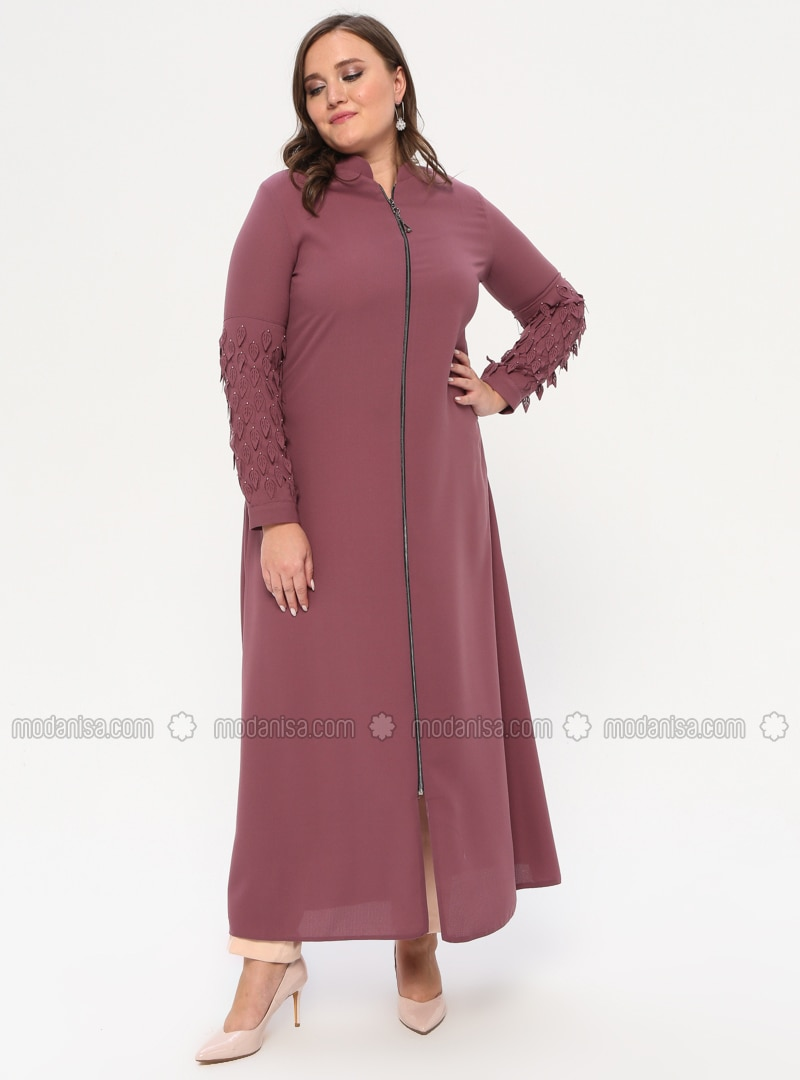 Dusty Rose - Crew neck - Unlined - Plus Size Abaya
