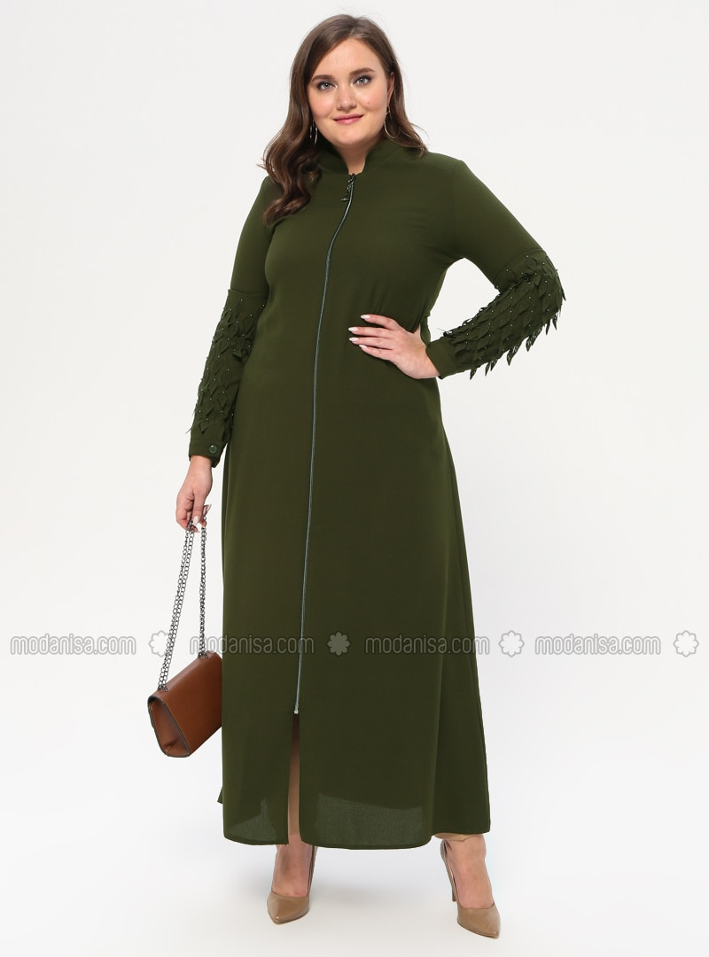 Khaki - Crew neck - Unlined - Plus Size Abaya