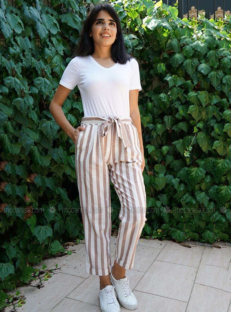 Beige - Stripe -  - Pants